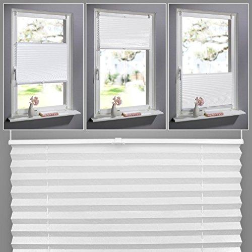 SHINY HOME® Plissee Weiß 60cm breit und 130cm hoch klemmfix Jalousien Plisseerollo ohne bohren für Fenster Tür mit Klemmträger