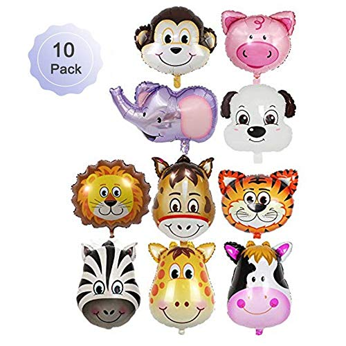 Borang 10 Pieces Jungle Safari Animals Balloons 22 Inch Giant Zoo Animal Balloons Kit For Jungle Safari Animals Theme Birthday Party Decorations Kids Gift Birthday Party Décor]()