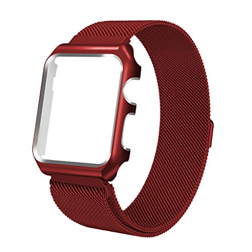 iVeze Compatible Apple Watch Bands 42mm with Protective Case, Stainless Steel Milanese Loop Bands with Magnetic Closure Replacement Band Compatible with Apple Watch Series 3/2/1 Red