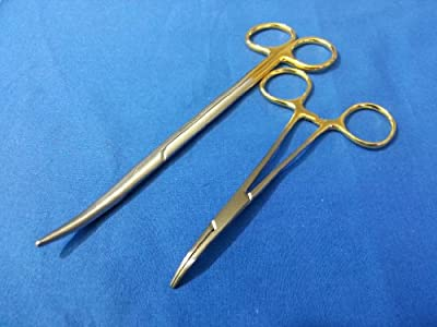 "2 Pcs Gold Handle Premium O.r Grade Mosquito Locking Hemostat Forceps 5"" Curved 5"" + Metzenbaum Scissors 7"" Curved ( Hti Brand)"
