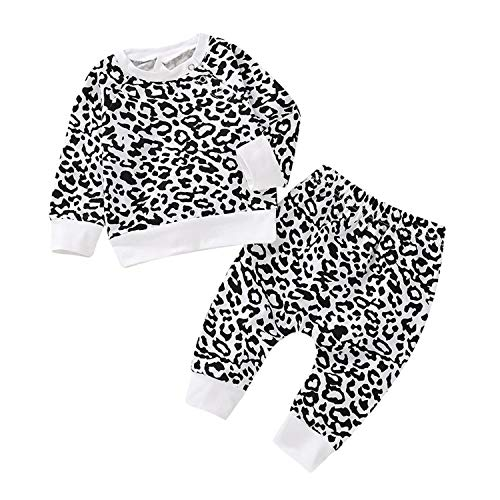 Leopard Baby Clothes Set Autumn Newborn Baby Boy Clothes Long Sleeve Infant Clothing,White,12M