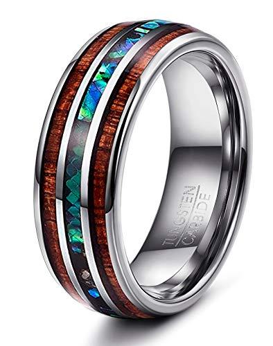FUNRUN JEWELRY 1 Pc 8 mm Natural Abalone Shell & Hawaiian Koa Wood Tungsten  Carbide Ring for Men Wedding Ring Size 7-14