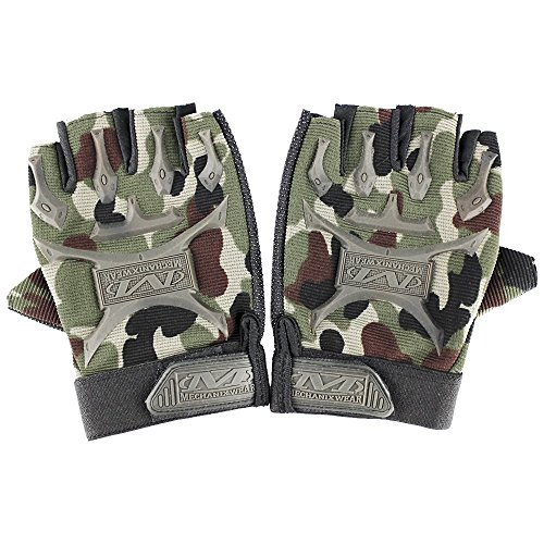 Ezyoutdoor Outdoor Airsoft Tactical Anti-slip Fingerless Camouflage Riding Gloves for Motorcycle Bike Hunting Hiking Fishing Survival Outdoor Sports