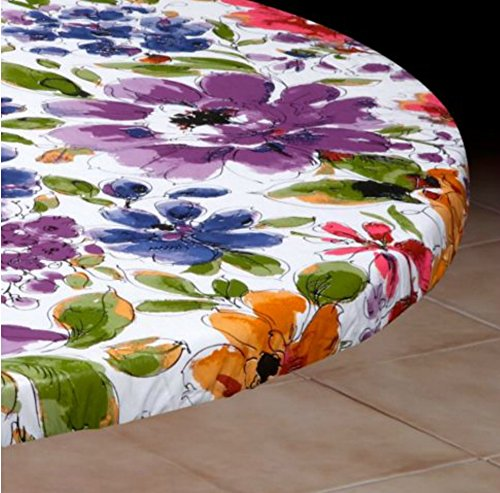 White Floral Vinyl Table Cover (Assorted Sizes) (Medium Oval: Fits 36
