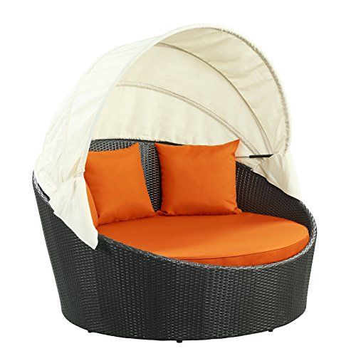 Modway Siesta Outdoor Wicker Patio Espresso Canopy Bed with (Espresso Canopy Bed)