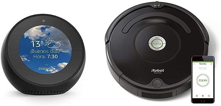 Echo Spot negro + iRobot Roomba 671 - Robot aspirador suelos duros ...