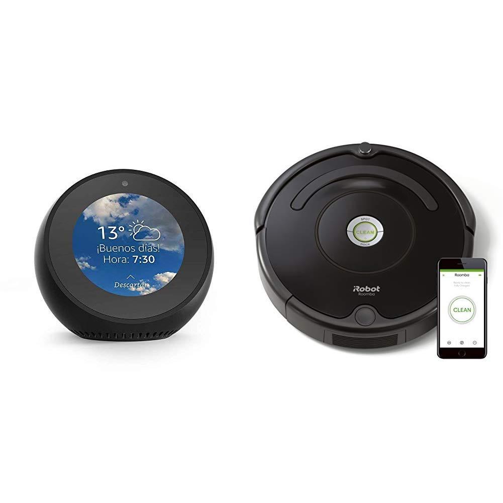 Echo Spot negro + iRobot Roomba 671 - Robot aspirador suelos duros y alfombras, tecnología Dirt Detect, limpieza en 3 fases, wifi, programable por app, ...