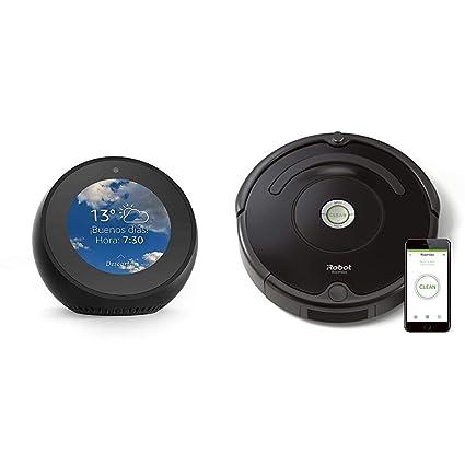 Echo Spot negro + iRobot Roomba 671 - Robot aspirador suelos duros y alfombras, tecnología
