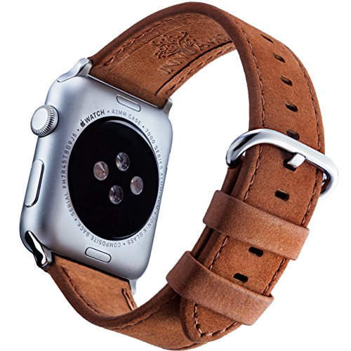 Apple Watch Leather Band 42mm + Screen Protector and eBook – Matte Brown iWatch Bands for men and women from Innoavations, compatible with Series 1  …