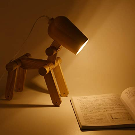 ELINKUME Lámpara de mesa perro de madera - diseño de articulación ajustables creativas, linda forma de perro lámpara de noche iluminación decorativa ...