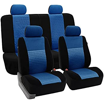 FH-FB060114 Trendy Elegance Car Seat Covers, Airbag compatible and Split Bench, Blue / Black color