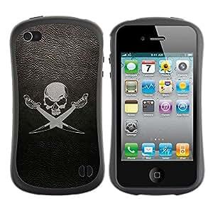 Suave TPU GEL Carcasa Funda Silicona Blando Estuche Caso de protección (para) Apple Iphone 4 / 4S / CECELL Phone case / / cherep sabli fon /
