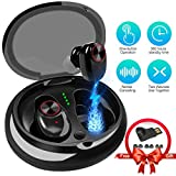 Lstiaq Bluetooth Earbuds Bluetooth 5.0 True Sports Earphone 15H Playtime 3D Stereo Sound Headphones, IPX65 Sweat Proof Earphones Built-in Microphone for Running and Charging Case-Black (Bluetooth 5.0)