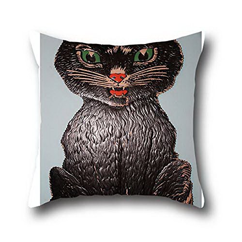 Oshiley Black Cats Halloween 100% Cotton Pillow Cover With Zipper Decorative Mbroidery Case ( 20*36 (Black Cats Of Halloween Rin And Len)
