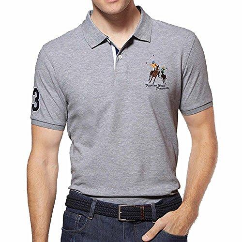 新しい意味バーベキューサンダーワンポイント 半袖 シャツ メンズ ポロシャツ ッペン 刺繍 付き シンプル スポーツ ウェア ゴルフウェア ポロシャツ 半袖 白