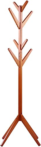 EBTOOLS Standing Coat Rack, Clothes Scarfs Hanging Stand, Pine Rack Disassembled Hanger for Home Use Orange red