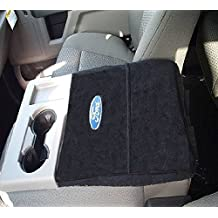 Fits Ford 2011-2017 F150 F250 F350-Officially Licensed Ford Embroidered Truck Armrest Covers For Center Console Lid -Will Protect New or Restore Worn Out Consoles-Black (Must Match Picture)