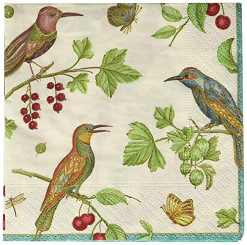 Entertaining with Caspari Jeweled Birds Cocktail Napkins, ()