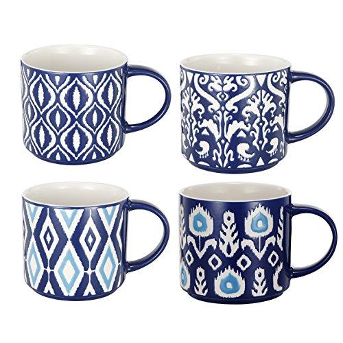 A&B Home AV0254 Ceramic Oversized Mugs, Blue, Set of 4, 5.5 by 4 by 3.5-Inch ()