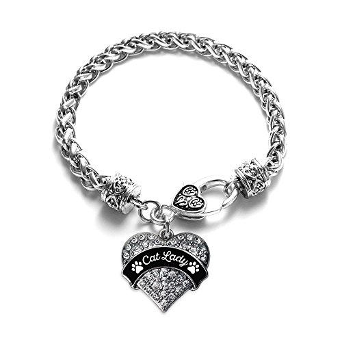 Br Cats Paw - Inspired Silver - Cat Lady - Paw Prints Braided Bracelet for Women - Silver Pave Heart Charm Bracelet with Cubic Zirconia Jewelry