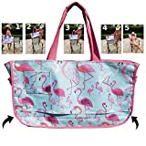 Beach Bag | Flamingo fits on the back of Beach Chairs Water Resistant Large Tote