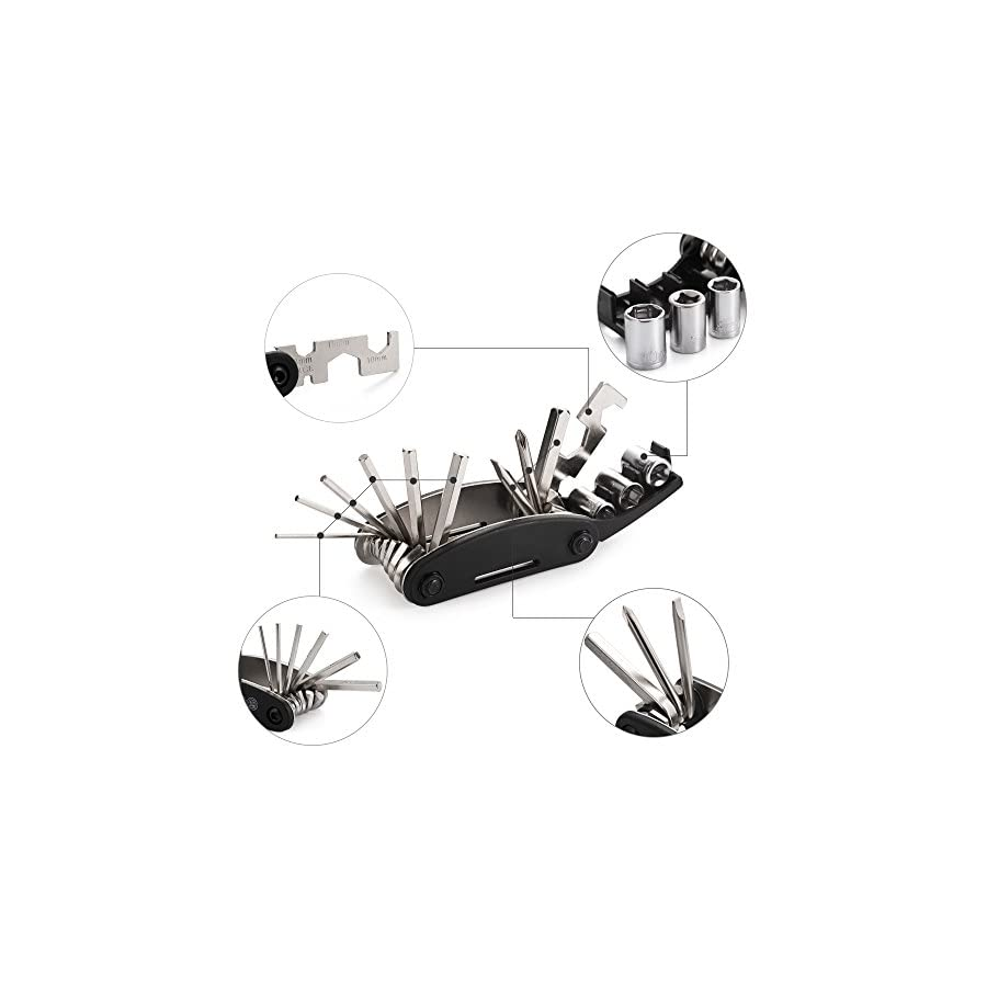 Zukam 16 in 1 Bicycle Cycling Repair Kits with Tire Patch Levers Multifunction Tool Mechanic Fix Multitool Set