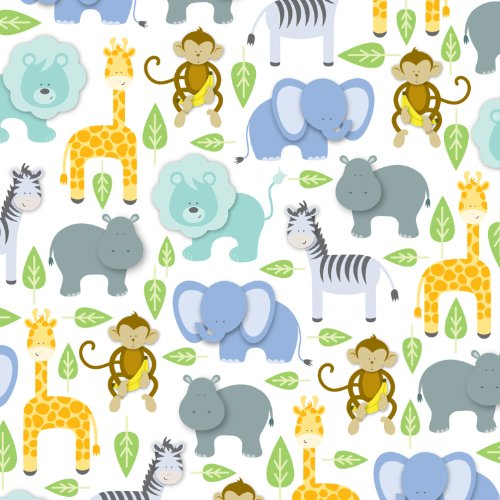 Jillson Roberts 24 Sheet-Count Premium Printed Tissue Paper Available in 15 Different Designs, Baby Shower Zoo -