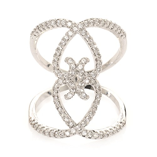 Avery and May Big Filigree Statement Criss Cross Pave Cubic Zirconia Cocktail Ring for Women, Silver, Size ()
