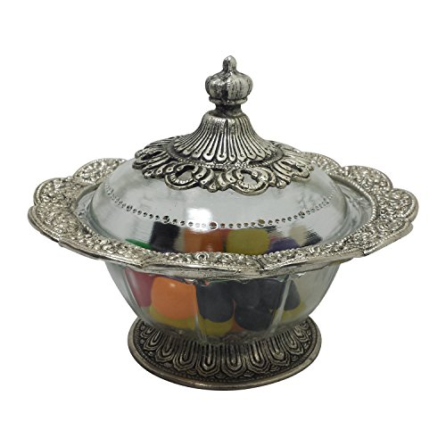 GiftBay Beautiful Glass Bowl with Lid, Decorated with Antique Silver Finish Metal Trim at Base, Top Edge, and Knob