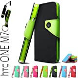 YESOO High Quality Leather Wallet Case With Magnetic flap closure For HTC One M7 Fancy colorful Case Cover With Aluminum Touch Pen And Silicone Key Chain (Black)