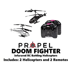 These Propel Doom Fighter 2.4GHz 2.5CH Infrared RC Battling Helicopters allow you to fly as a stand-alone pilot or to take part in competitive dogfights with a favorite friend, sibling or parent. Each helicopter features 2-channel operation p...