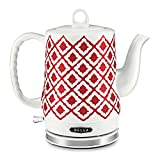 kettle for electric stove - BELLA 1.2L Electric Ceramic Tea Kettle with detachable base and boil dry protection