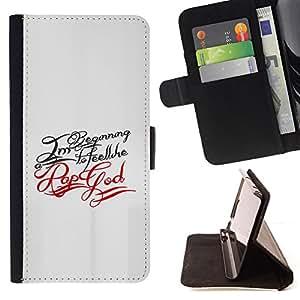 BullDog Case - FOR/Apple Iphone 4 / 4S / - / Pop God Typography /- Monedero de cuero de la PU Llevar cubierta de la caja con el ID Credit Card Slots Flip funda de cuer