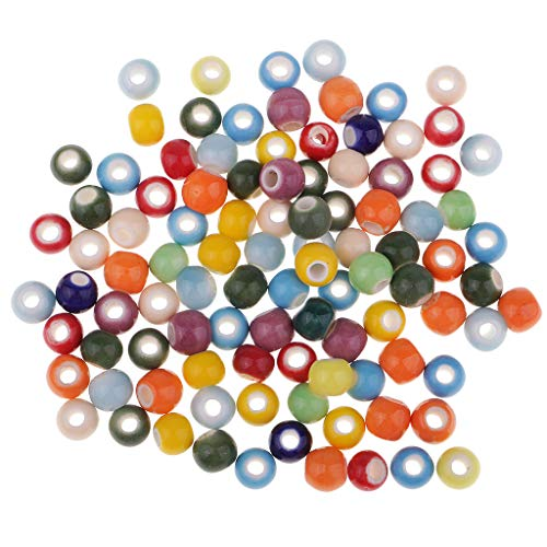 SM SunniMix 100 Pieces Mixed Colorful Round Enamel Porcelain Ceramic Loose Spacer Beads for Jewelry Making Craft DIY Necklace Bracelet 6mm