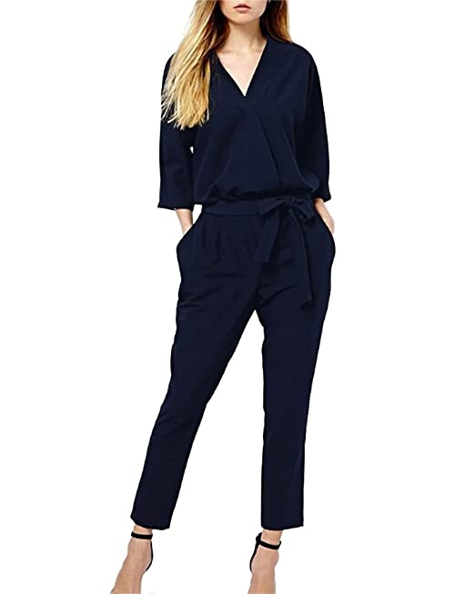 Tute Eleganti Manica Lunga Pantaloni Lungo Jumpsuit Vestito Abito Cerimonia  Da Donna  Amazon.it  Abbigliamento 7e7fab9e45ba