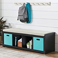 Better Homes and Gardens 4-Cube Organizer Storage Bench - Solid Black
