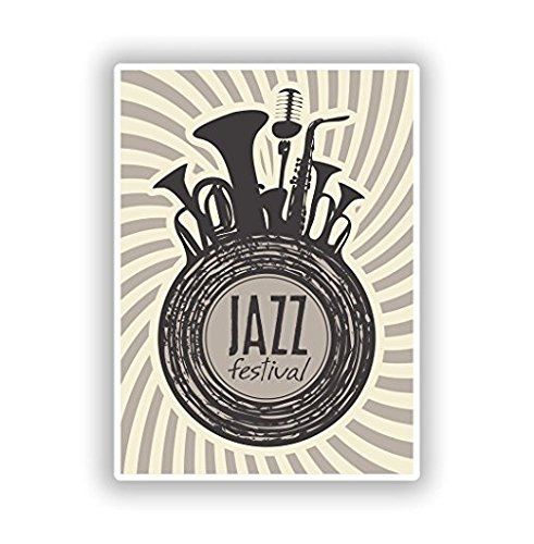 (Jazz Festival Vinyl Stickers - Sticker Graphic - Sticks to Any Smooth Surface - Cars, Walls, Cellphones, Laptops,)