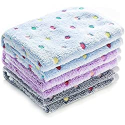 luciphia 1 Pack 3 Blankets Super Soft Fluffy Premium Fleece Pet Blanket Flannel Throw for Dog Puppy Dot Medium