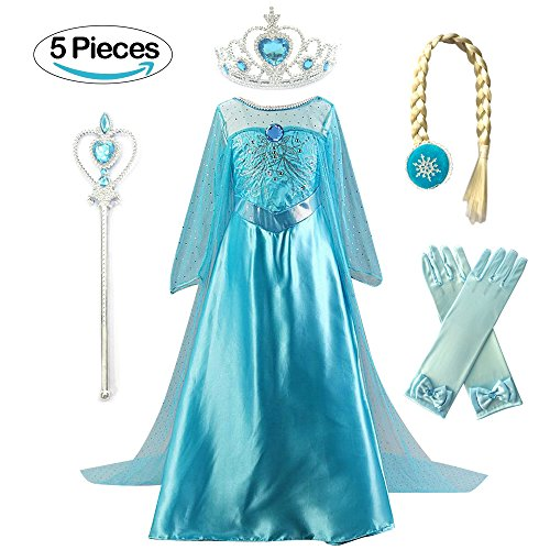 Kuzhi Princess Elsa Anna Cosplay Costume with Crown Wand Gloves and Wig (XS)