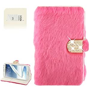 Diamond Encrusted Winter Warm Fur Leather Case with Credit Card Slot & Holder for Samsung Galaxy Note 2 / N7100 (Magenta)