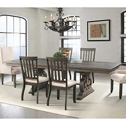 Wood Trestle Dining Table - Picket House Furnishings Stanford Dining Table Transitional/Dark Ash/Rubber Wood