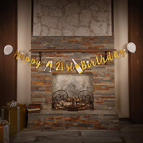 21st Birthday Decorations Banner by Aliza | Twenty First Finally Legal Bday Decor for Her - Huge 8-feet Long Gold Silver Birthday Supplies Banner - The Perfect Decoration for Your Party -