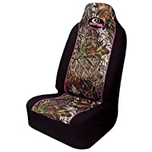 Mossy Oak Camo Pink Trim Pullover Seat Cover (Mossy Oak Break-Up Camo, Durable Polyester Fabric, Sold Individually)