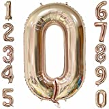 40 inch Rose Gold Large Number Balloons Mylar Foil Big Number 0 Giant Helium Balloon Birthday Party Decoration