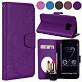 Samsung S7 Edge Case, Ailisi Luxury PU Leather Wallet Flip Case Butterfly Flower Design Magnetic Cover with Built-in Hidden Mirror, Stand Feature, Card Slots Holder for Samsung Galaxy S7 Edge-Purple