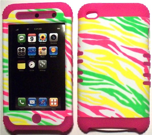 Colorful Zebra on Pink Silicone Skin for Apple ipod Touch iTouch 4G 4 Hybrid 2 in 1 Rubber Cover Hard Case (Zebra Pink Skin Snap)