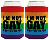 Funny Beer Coolie I'm Not Gay But $20 is $20 Funny Gift 2 Pack Can Coolie ...