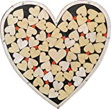 Heart Drop Alternative Wedding Guest Book Wood Shadow Box with 2'' Heart Charms