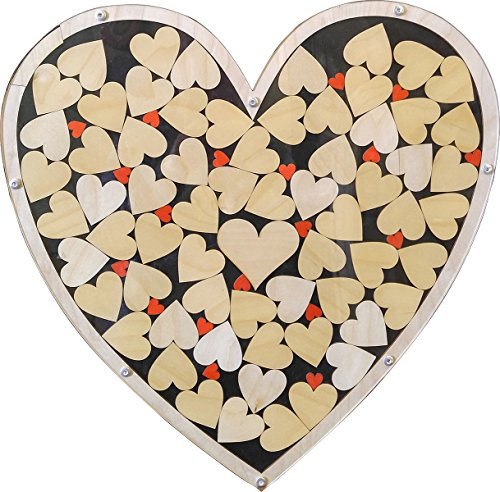 Heart Drop Alternative Wedding Guest Book Wood Shadow Box with 2'' Heart Charms by Together Forever Puzzle