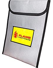 """Flame Fortress Fireproof Bag 16"""" x 12""""   Fire and Heat Resistant Heavy Duty Fiberglass Envelope Protect Money, Documents, Valuables"""